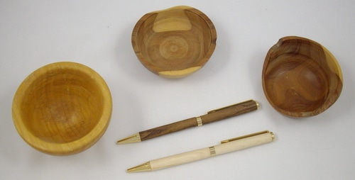 Small bowls and pens turned from local woods