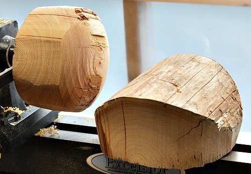 Rough wood: Two bowl blanks ready for the lathe