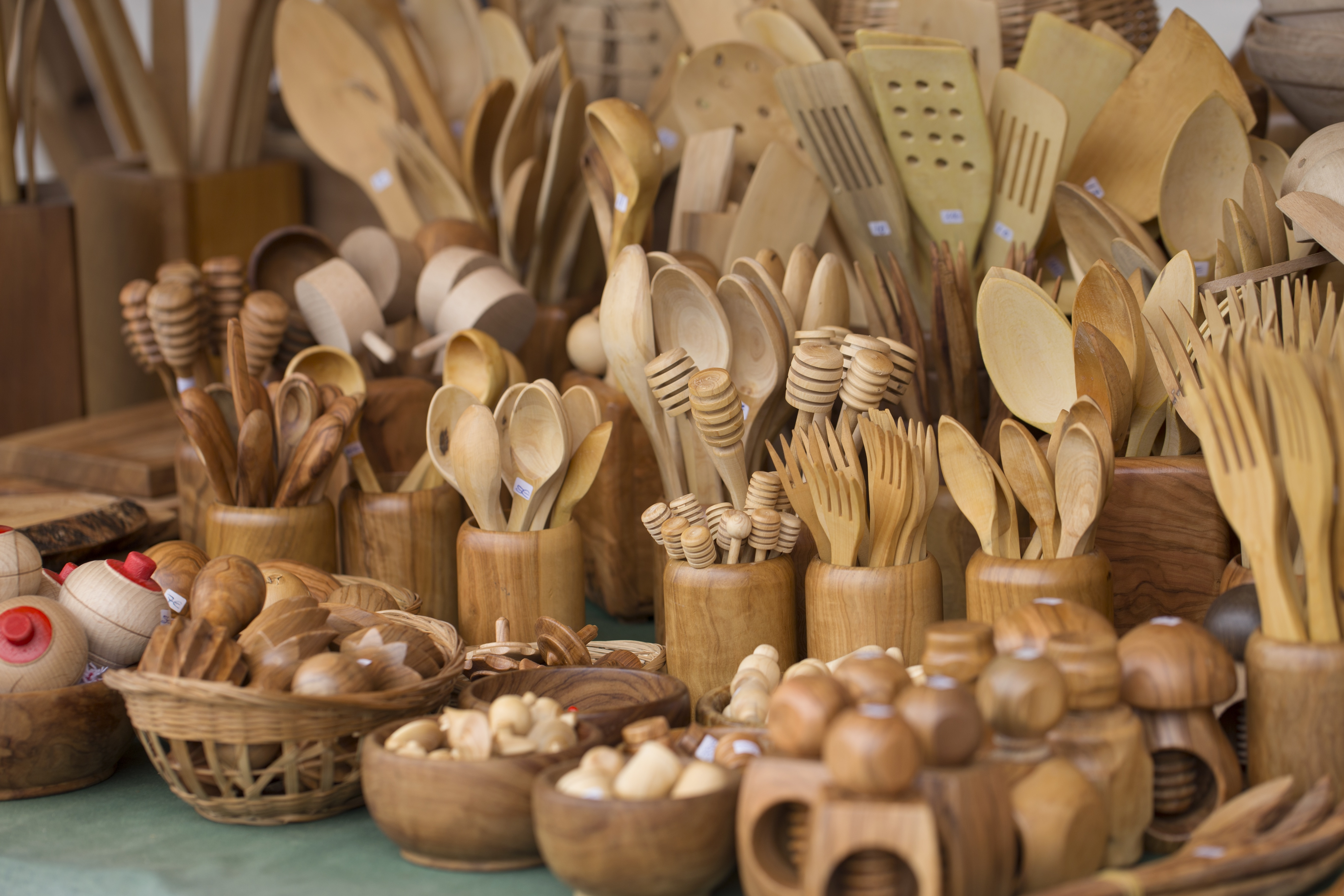 Wooden crafts on display at craft fair