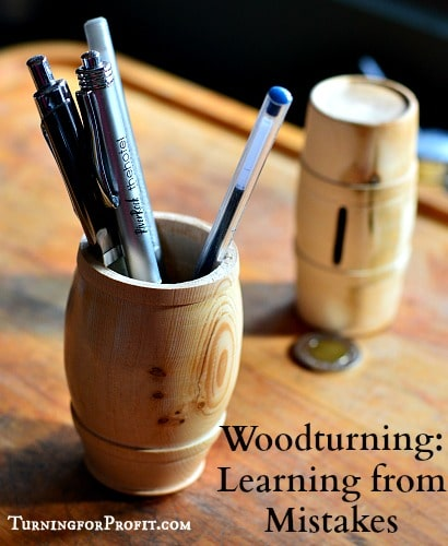 Woodturning finished pen holder - barrel shaped