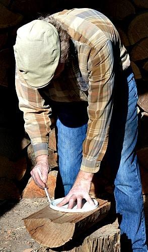 Wooden Bowl - Larch marking round