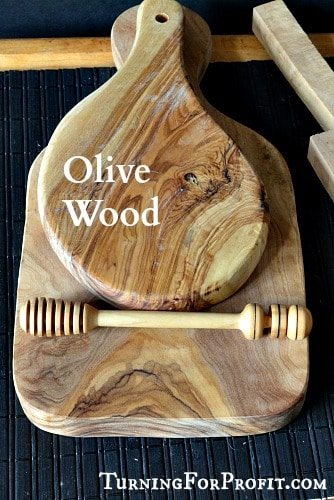 Olive Wood honey dipper and two platters beautiful grain pattern