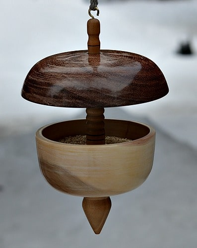 Woodturner Bird Feeder as a challenging project