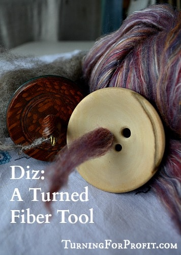 A turned diz that is used to prepare fiber for spinning