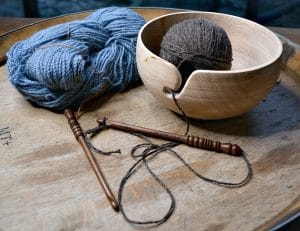 Yarn Bowl in use