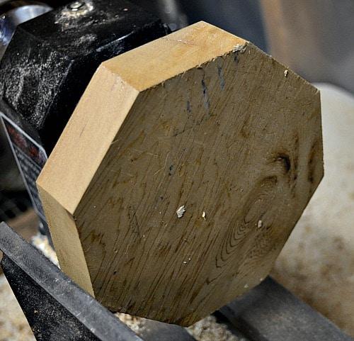 Turning blank ready on the lathe