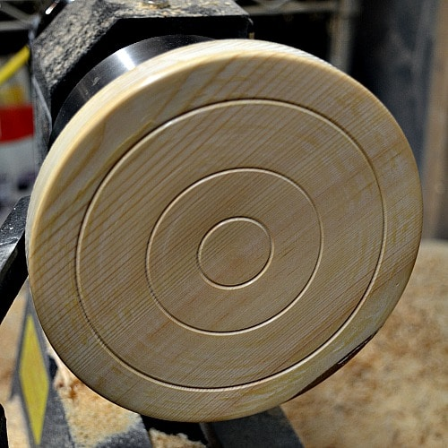 Larch trivet with circles added for decoration