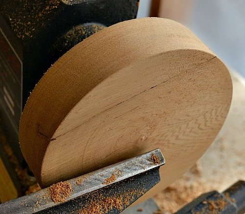 Cedar blank is turned round and the face is flattened