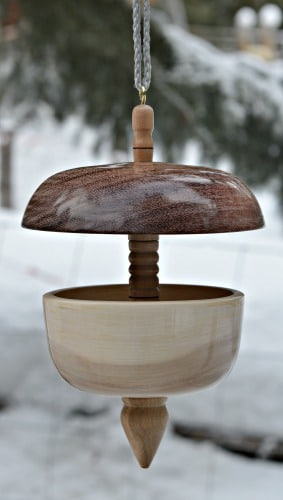 A turned bird feeder is beautiful artisan work.